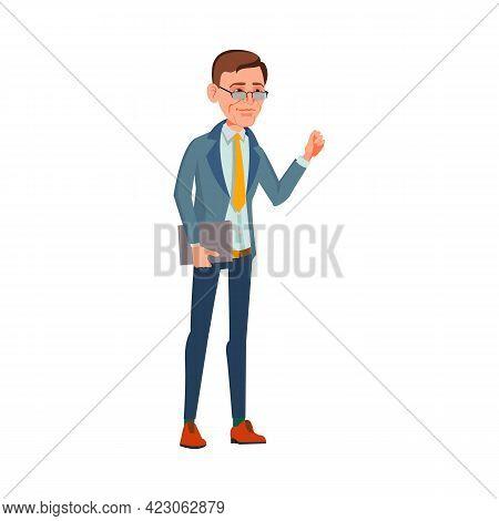 Man Manager Kicking At Client Door Cartoon Vector. Man Manager Kicking At Client Door Character. Iso