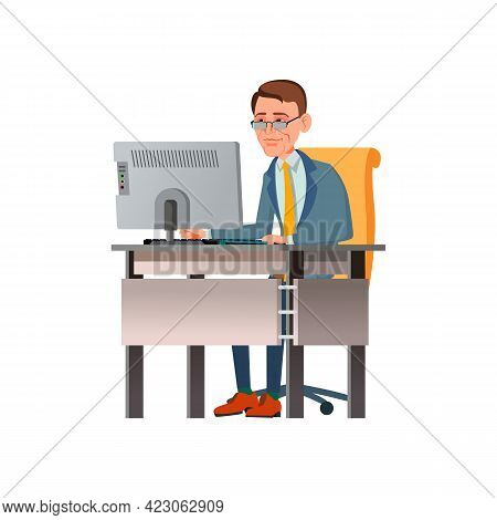 Serious Man Work And Check Employee Report On Computer Cartoon Vector. Serious Man Work And Check Em