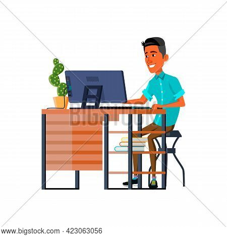 Smiling Hispanic Young Man Reading Love Message From Girlfriend On Computer Cartoon Vector. Smiling