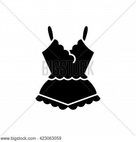 Lace Pyjamas Black Glyph Icon. Elegant Nightgown For Ladies. Trendy Sleepwear For Women. Comfortable