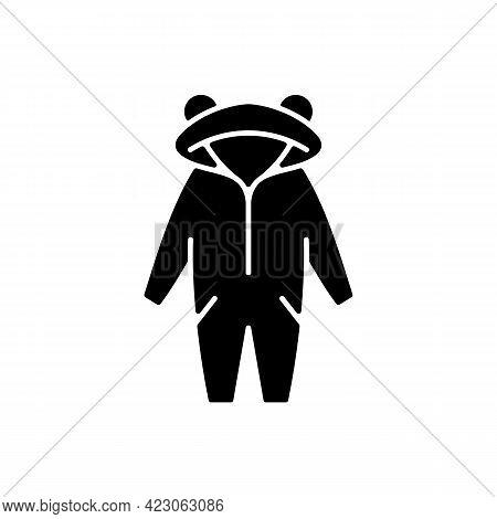 Kigurumi Black Glyph Icon. Funny Jumpsuit For Children. Halloween Tiger Costume For Kids. Comfortabl