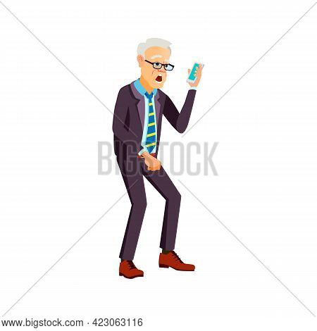Elderly Man Shocked From Message On Phone Cartoon Vector. Elderly Man Shocked From Message On Phone