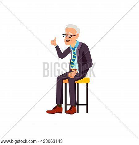Laughing Elderly Man Laughing From Grandchild Joke At Home Cartoon Vector. Laughing Elderly Man Laug