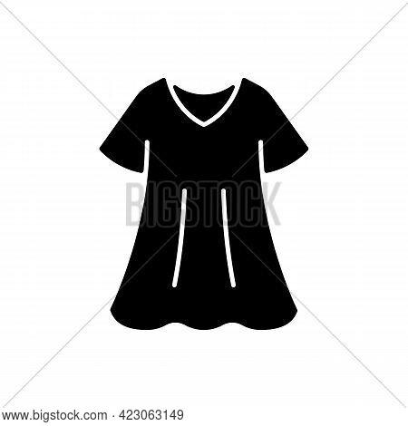 Sporty Dress Black Glyph Icon. Elegant Loungewear For Women. Oversized Trendy Dress. Comfortable Hom