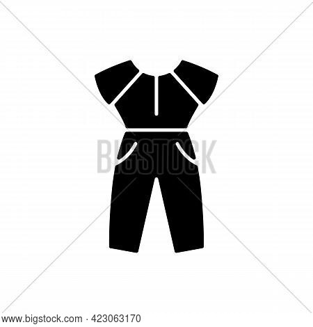 Jumpsuit Black Glyph Icon. Female Outfit. Women Sportswear. Trendy Clothes For Ladies. Stylish Garme