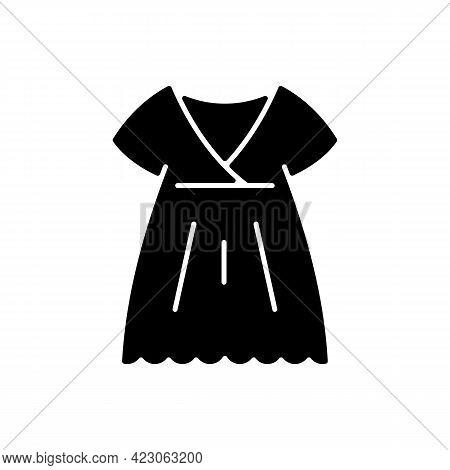 Nightgown Black Glyph Icon. Long Dress. Luxury Women Apparel. Outfit For Girls. Silk Wear. Comfortab