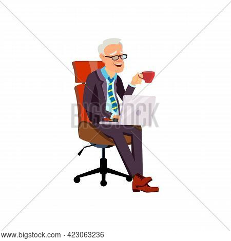 Elderly Man Sitting On Office Chair, Drinking Coffee And Laughing From Funny Movie On Laptop Cartoon