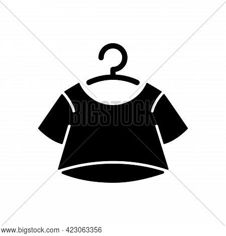 Crop Top Black Glyph Icon. Short For Women. Unisex Comfy Wear. Outfit For Home Lounging. T Shirt. Co