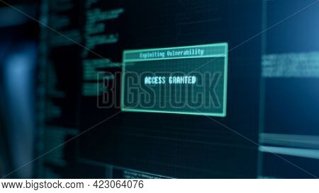 Identity Theft. Hacking The Internet.  Hacker Using Laptop. Network Security And Electronic Banking
