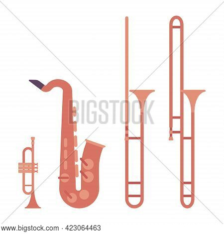 Wind Musical Instrument, Brass And Woodwind Set. Saxophone, Grey Trumpet, Bright Trombone For Band,