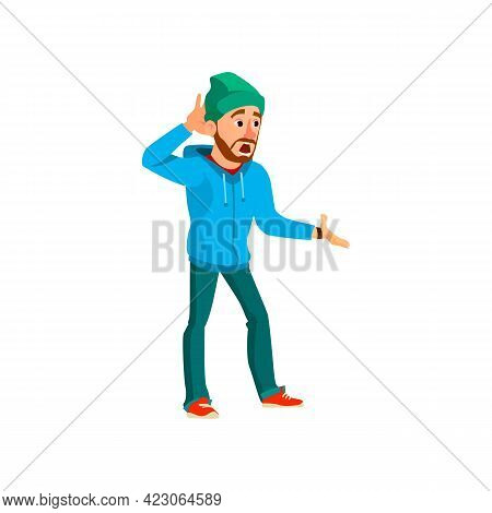 Shocked Man After Road Accident Cartoon Vector. Shocked Man After Road Accident Character. Isolated