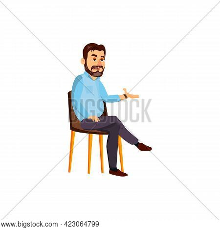 Lazy Man Relaxing In Living Room Cartoon Vector. Lazy Man Relaxing In Living Room Character. Isolate