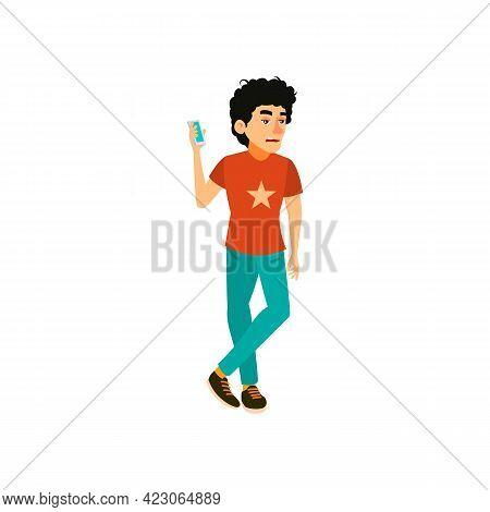 Youngster Man Waiting Call Long Time Cartoon Vector. Youngster Man Waiting Call Long Time Character.