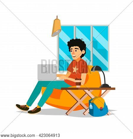 Young Man Working In Lounge Zone Cartoon Vector. Young Man Working In Lounge Zone Character. Isolate