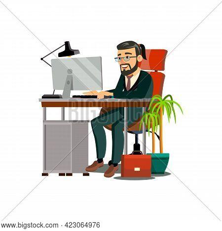 Elegance Man Late Working At Computer Desk Cartoon Vector. Elegance Man Late Working At Computer Des