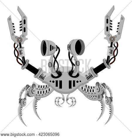 Robot Crab In Metal Steampunk Style. A Crustacean Cyborg On A White Background.