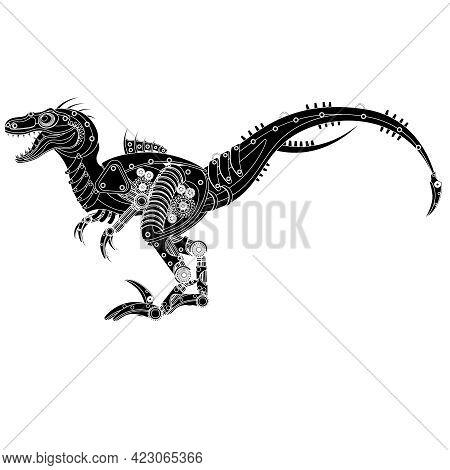 Tattoo Sketch Of A Dinosaur Raptor Robot. Vector Illustration On A White Background.