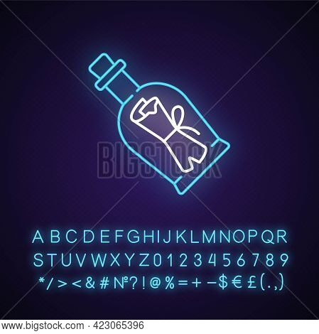 Message In Bottle Neon Light Icon. Scrolled Note Inside Glass With Cork. Clues For Riddles. Outer Gl