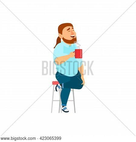 Laughing Man Drink Hot Coffee In Cafeteria Cartoon Vector. Laughing Man Drink Hot Coffee In Cafeteri