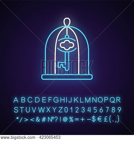 Key In Cage Neon Light Icon. Gain Access. Solve Difficult Situation. Solving Puzzles. Outer Glowing