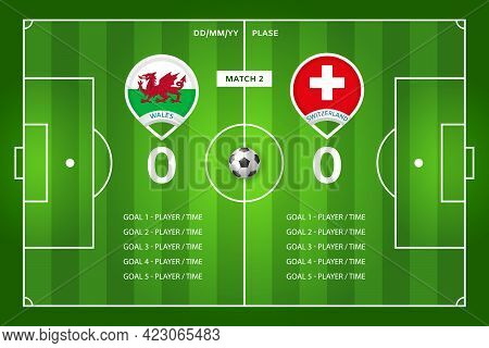 Football Match Wales - Switzerland. Scored Goals Screen. Rounded Pin Icons With Countries Flags On F