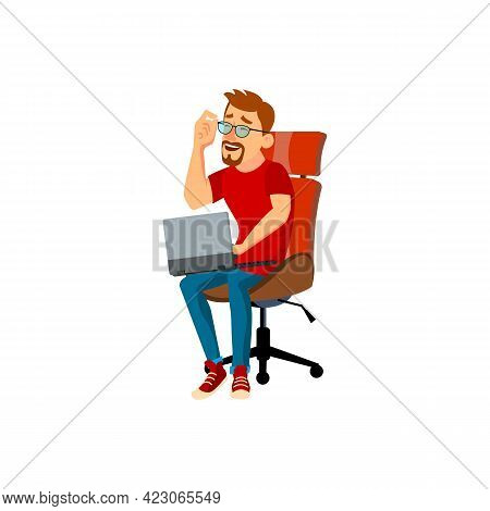 Businessman Has Funny Conversation With Partner Online Cartoon Vector. Businessman Has Funny Convers