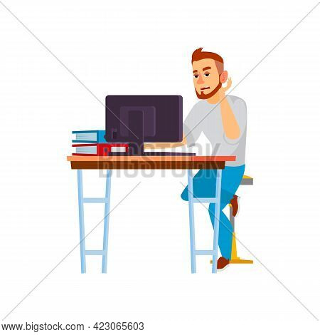 Tired Man Making Report On Computer Cartoon Vector. Tired Man Making Report On Computer Character. I