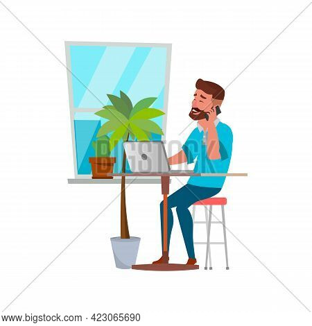 Happiness Bearded Man Talking With Customer On Phone Cartoon Vector. Happiness Bearded Man Talking W