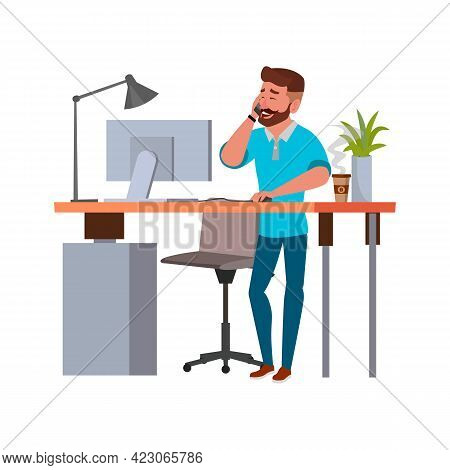 Bearded Man Talking With Client On Phone And Checking Order On Computer Cartoon Vector. Bearded Man