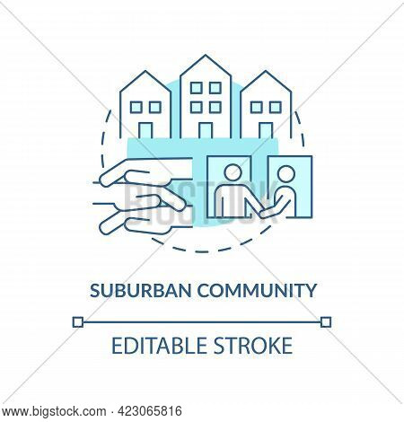 Suburban Community Concept Icon. Communities Types Abstract Idea Thin Line Illustration. Peri-urban