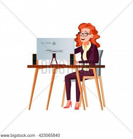 Elegant Woman Create Funny Joke On Computer Cartoon Vector. Elegant Woman Create Funny Joke On Compu