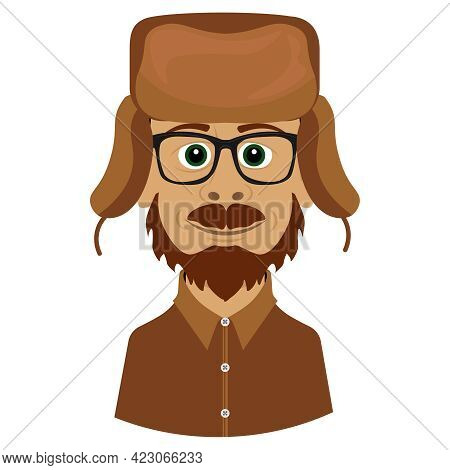 A Bearded Man In A Hat With Earflaps. Archaeologist Or Geologist Vector Drawing.