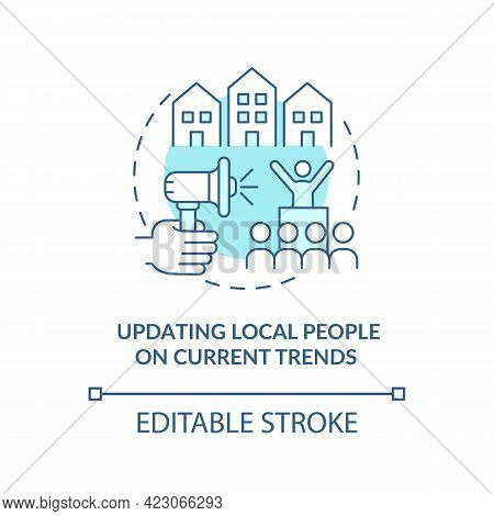 Updating Local People On Current Trends Concept Icon. Society Progress Abstract Idea Thin Line Illus