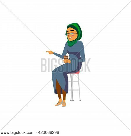 Young Islamic Woman Giving Advice To Colleague Cartoon Vector. Young Islamic Woman Giving Advice To