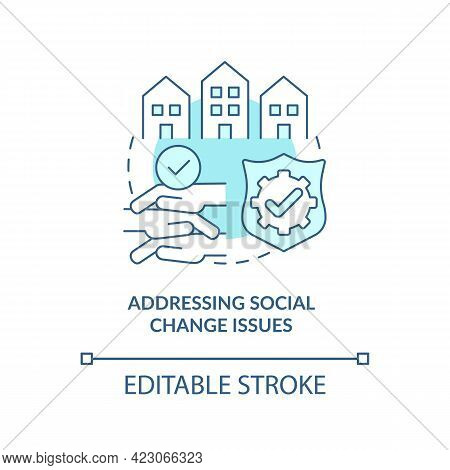 Addressing Social Change Issues Concept Icon. Community Development Abstract Idea Thin Line Illustra