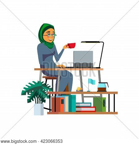 Accountant Muslim Woman Counting Dept And Credit Cartoon Vector. Accountant Muslim Woman Counting De