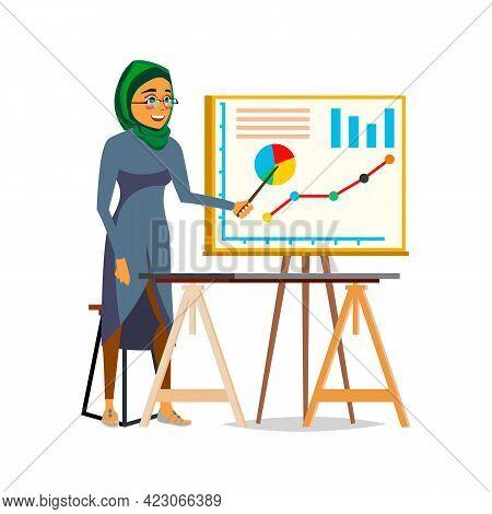 Arabian Woman Presenting Financial Diagram In Office Cartoon Vector. Arabian Woman Presenting Financ
