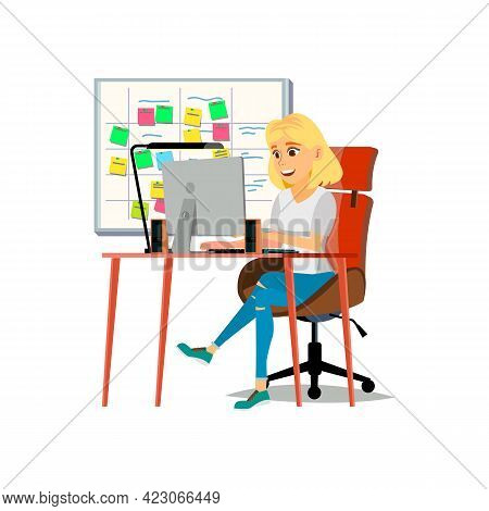 Accountant Woman Working With Financial Report On Computer Cartoon Vector. Accountant Woman Working