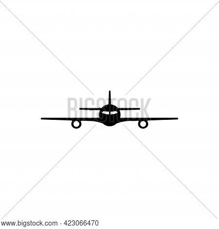Airplane, Passenger Plane, Airliner. Flat Vector Icon Illustration. Simple Black Symbol On White Bac