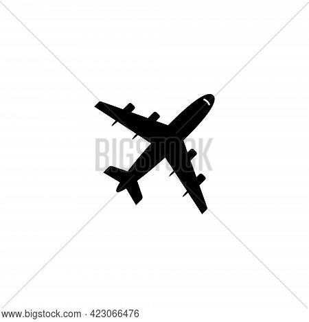 Fluing Airplane, Taking Off Jet. Flat Vector Icon Illustration. Simple Black Symbol On White Backgro