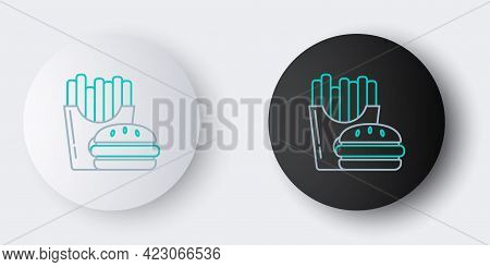 Line Burger And French Fries In Carton Package Box Icon Isolated On Grey Background. Hamburger, Chee