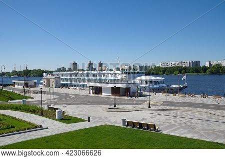 Moscow, Russia - June 3, 2021: The Embankment At The Building Of The Northern River Station With A C