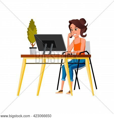 Artist Woman Developing Web Site Design On Computer Cartoon Vector. Artist Woman Developing Web Site