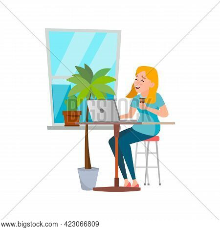 Smiling Young Woman Reading Funny E-book On Notebook Cartoon Vector. Smiling Young Woman Reading Fun