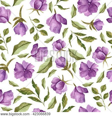 Watercolor Seamless Pattern With Wild Flowers. Watercolor Design For Dresses, Clothing, Wallpaper, F