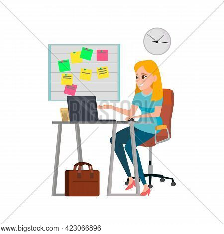 Woman Manager Speaking With Colleagues In Office Cartoon Vector. Woman Manager Speaking With Colleag