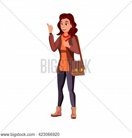 Young Woman Choosing Gadget In Show Room Cartoon Vector. Young Woman Choosing Gadget In Show Room Ch