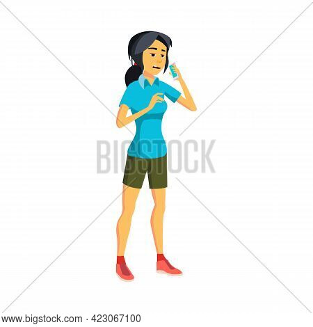 Asian Young Lady Has Boring Discussion With Parents Cartoon Vector. Asian Young Lady Has Boring Disc