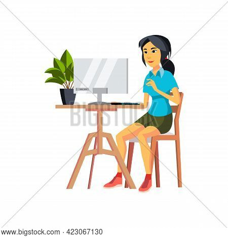 Chinese Woman Checking Electronic Mail On Computer Display Cartoon Vector. Chinese Woman Checking El
