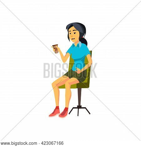 Exhausted Young Woman Drinking Energy Morning Drink Cartoon Vector. Exhausted Young Woman Drinking E
